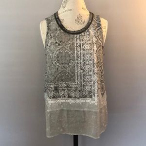 CJ Banks Hi-Low Rhinestone Embellished Tank Top Sm